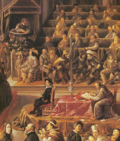 Galileo, Scientific Pioneer, (standing on upper left corner of court) was put on trial in April 1633 for heresy for declaring radical theories which were in opposition to the Church.