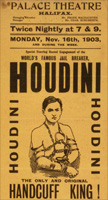 HOUDINI! The Great Houdini was the legendary double-jointed magician who specialized in escaping from straitjackets, chains, handcuffs, ropes, trunks, jails, padlocked containers and milk cans underwater. He was a master of publicity stunts and famous for demystifying spiritualists and proving they were frauds. Houdini DIED on HALLOWEEN, in 1926!