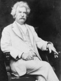 "MARK TWAIN! Mark Twain, GENIUS American author, famous for writing ""Adventures of Huckleberry Finn."" Twain was BORN as HALLEY'S COMET passed over Earth and VOWED to DIE with the COMET'S RETURN in 75 YEARS - - AND HE DID!"