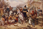 "THANKSGIVING BIOGRAPHY! The 4th THURSDAY in NOVEMBER. The first ""Thanksgiving"" was held by the Pilgrim colonists in 1621 in Plymouth. Plymouth Governor William Bradford wanted to give thanksgiving to God by having a celebration after a successful harvest. The neighboring Indians, the Wampanoag, were invited to join in their feast, which included wild fowl, venison, harvest grains, corn, squash and more."