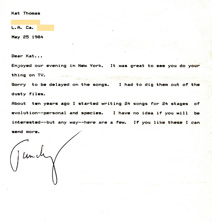 "Letter from TIMOTHY LEARY to KAT THOMAS (The Great Kat) about collaborating on music, which produced the unreleased song ""RIGHT BRAIN LOVER""!"