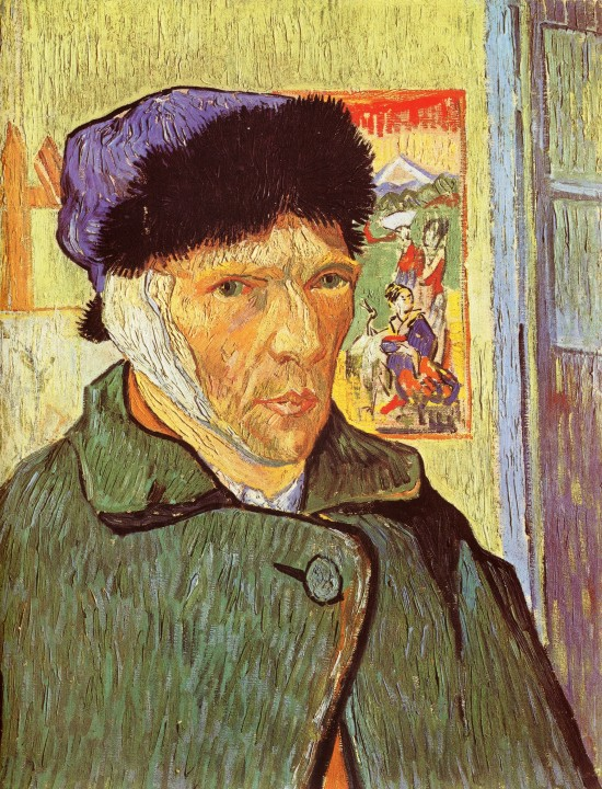 "VINCENT VAN GOGH, tortured genius artist, famous for cutting off his own ear in a fit of mental derangement and painter of ""Starry Night."" Van Gogh only sold 1 painting in his lifetime, but today, every Van Gogh painting sells for millions of dollars each and are considered priceless collectibles."