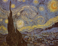 """VINCENT VAN GOGH, tortured genius artist, famous for cutting off his own ear in a fit of mental derangement and painter of """"Starry Night."""" Van Gogh only sold 1 painting in his lifetime, but today, every Van Gogh painting sells for millions of dollars each and are considered priceless collectibles."""