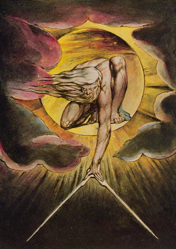 "WILLIAM BLAKE, ARTIST and POET, was called ""HIDEOUS"", ""INSANE"" & a LUNATIC.   Pictured here is his Watercolor Painting ""THE ANCIENT OF DAYS (God as an Architect)."""