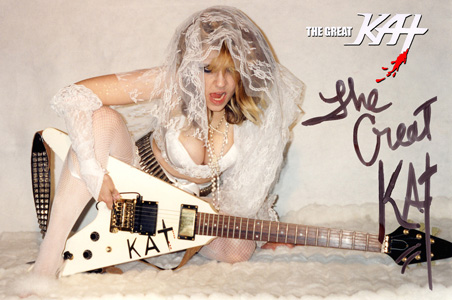 AUTOGRAPHED HOT KAT 8x10 COLOR PHOTO WEDDING GODDESS