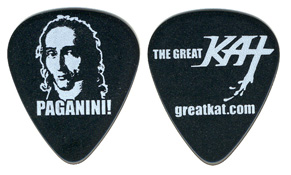 "NEW GUITAR PICK! ""PAGANINI!"" NEO-CLASSICAL GREAT KAT GUITAR PICK! Black Celluloid Great Kat Guitar Pick (Heavy Gauge) Front: PAGANINI NAME & PORTRAIT Back: THE GREAT KAT LOGO & WEB SITE"