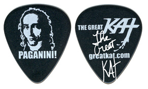"NEW GUITAR PICK! ""PAGANINI!"" Personalized Autographed NEO-CLASSICAL GREAT KAT GUITAR PICK! Black Celluloid Great Kat Guitar Pick (Heavy Gauge) Front: PAGANINI NAME & PORTRAIT Back: THE GREAT KAT LOGO & WEB SITE"