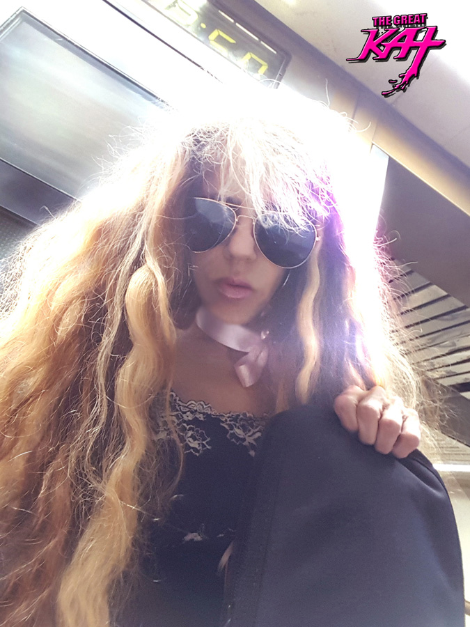 2:50 PM at PENN STATION in NEW YORK CITY: THE GREAT KAT NYC THRASH GODDESS with MY GUITAR!!