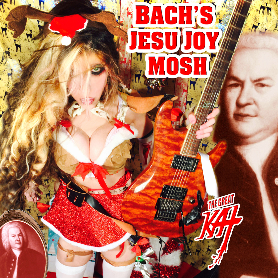 """NEW! BACH�S �JESU JOY MOSH� DIGITAL & CD SINGLE by THE GREAT KAT GUITAR GODDESS! CHRISTMAS COMES EARLY WITH BACH & THE GREAT KAT! The Great Kat Guitar Goddess celebrates Christmas early with Johann Sebastian Bach�s Baroque holiday classic """"Jesu Joy"""". Bach�s famous masterpiece is known by the title """"Jesu, Joy of Man's Desiring"""", but Goddess Great Kat is now desiring to bring it to the whole world with this new metal mosh treatment! The Great Kat virtuosically shreds 4 lead guitars with beautiful melodic contrapuntal melodies and harmonies, along with Cathedral Organ accompaniment, while The Great Kat's heavy metal rhythm guitars, bass and drums pound with headbanging and moshing rhythms."""