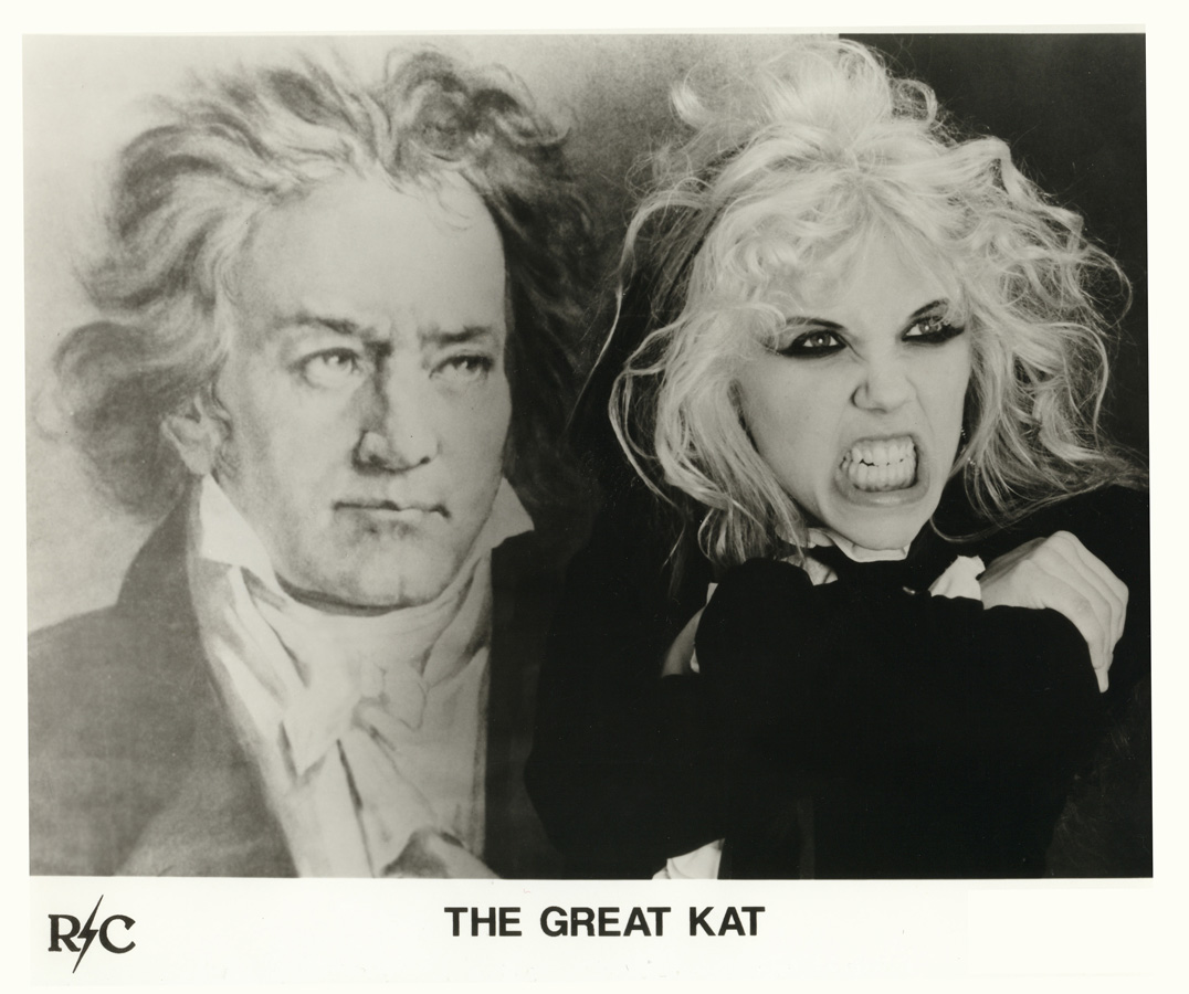 """THE GREAT KAT/BEETHOVEN Promo Shot for the GROUNDBREAKING SHREDCLASSICAL CD """"BEETHOVEN ON SPEED""""!! The Great Kat THRASHES Beethoven!!!"""