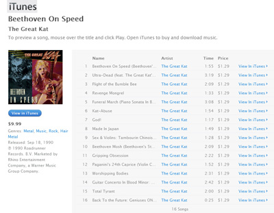 "THE GREAT KAT ""BEETHOVEN ON SPEED"" CD NOW AVAILABLE for DIGITAL DOWNLOADS/STREAMING on iTUNES & MORE!"