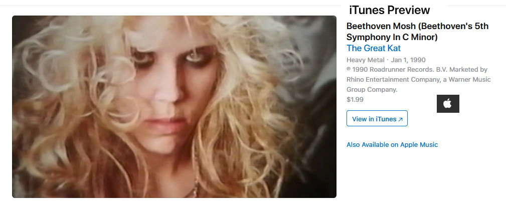 """WARNER MUSIC RELEASES on iTUNES VIDEOS THE GREAT KAT'S """"BEETHOVEN MOSH"""" & """"METAL MESSIAH"""" LEGENDARY MUSIC VIDEOS!!"""