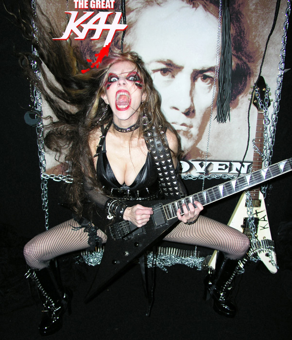 "L.A.'S MORNING NEWS LIVE INTERVIEW with THE GREAT KAT! LISTEN NOW! ""Here's a little musical wake-up call. AH! 'The Flight Of The Bumble-Bee' - the guitar shredding version."" -Penny Griego, L.A.'s Morning News - News Talk 980 - ""Yeah! Banging my head to that! Let's meet the shredder behind this and a whole lot of classical inspired guitar histrionics, including the new album 'Beethoven Shreds' - THE GREAT KAT!"" -Phil Hulett, L.A.'s Morning News - News Talk 980"