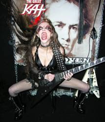 """INMUSIC FEATURES THE GREAT KAT IN """"CHICK METAL GUITARIST SHREDS BEETHOVEN, BACH (WATCH!)""""! """"Great Kat, a foxy, speed metal-loving guitar shredder who also happens to be a Juilliard graduate violin virtuoso with a penchant for kicking the stuffing out of classical compositions by giving them rock treatments. Great Kat has apparently been amassing fans of her lightning-fast metal-meets-classical guitar playing from far and wide. I especially like her head-snapping run through Rimsky-Korsakov's 'The Flight of the Bumblebee.' Enjoy!"""" -Kim Hughes, InMusic"""