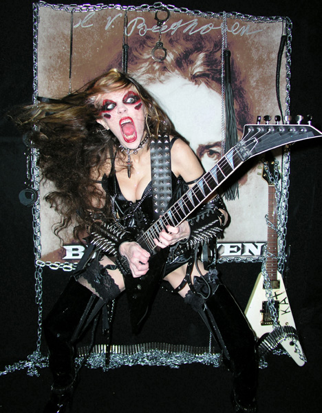 """FROM OUT OF NOWHERE RADIO SHOW Features GREAT KAT'S """"THE FLIGHT OF THE BUMBLE-BEE"""" from """"BEETHOVEN SHREDS"""" CD & CRAZED KAT RADIO ID! """"There you go. I did not speed that up. That's the speed she plays at. You SHREDHEADS check it out. Everything's pretty fast like that."""" - Rob Kern, From Out Of Nowhere Radio Show HEAR RADIO SHOW NOW!"""