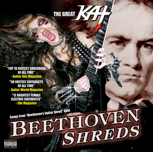 """TEST+TRY=RESULTS BLOG'S REVIEW OF THE GREAT KAT'S """"BEETHOVEN SHREDS"""" CD! """"SPECTACULAR blended Cd. What is Beethoven Shreds? Its the mix of your favorite musicians classical music blended with metal. If you know Beethoven then you know how great this composer was. Now lets take that great musician's songs and change up the instruments and add in some higher tones, and an increase in speed you then result to a rocking great classic. First you get the fun songs you remember from Beethoven, and then you get the more rocking and want to dance too music by The Great Kat, world's fastest guitarist. Makes this Cd an exciting new way to listen to the classics.  You will be so impressed."""" Natosha Miller, TEST+TRY=RESULTS Blog"""