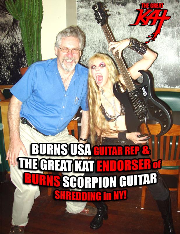 BURNS USA Guitar Rep & THE GREAT KAT Endorser of Burns SCORPION Guitar Shredding in NY!