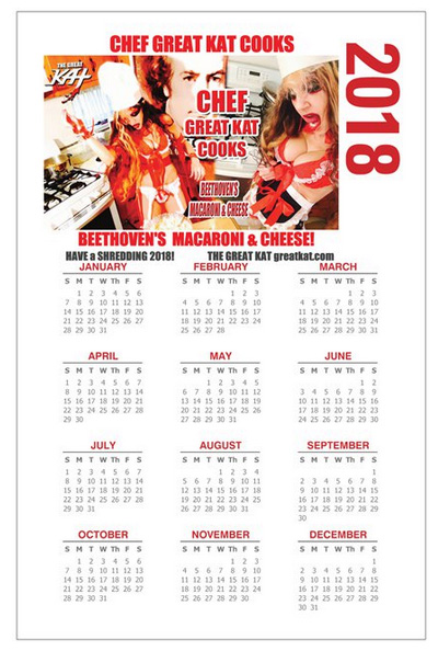 "NEW 2018 CHEF GREAT KAT CALENDAR - PHOTO POSTER 11"" x 17"" CALENDAR! ""CHEF GREAT KAT COOKS BEETHOVEN'S MACARONI & CHEESE!"" Personalized Autographed Photo Poster Glossy Calendar! http://store10552072.ecwid.com/products/90537866"