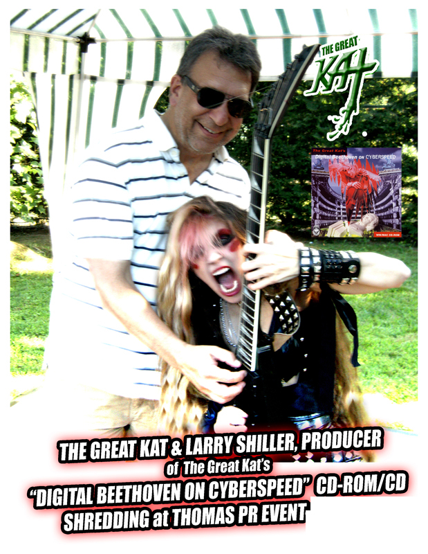 """The Great Kat & Larry Shiller, Producer of The Great Kat's """"DIGITAL BEETHOVEN ON CYBERSPEED"""" CD-ROM/CD Shredding at Thomas PR Event! WAKE UP! GREAT KAT IS GOD!!!"""