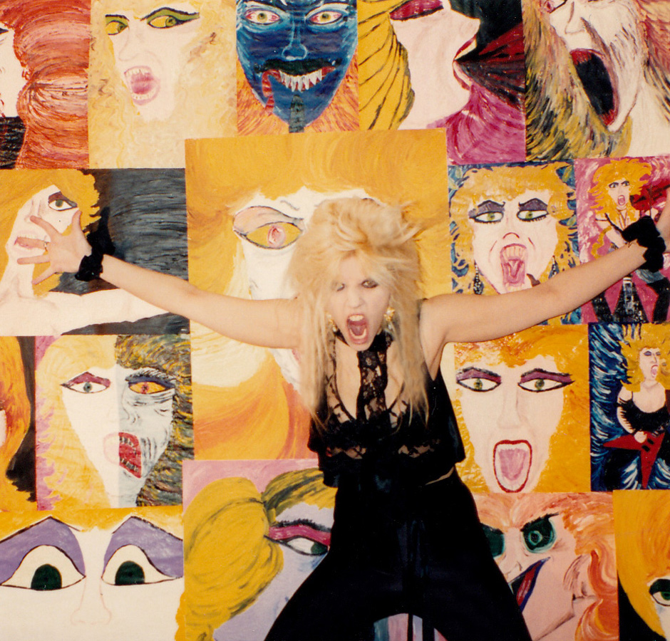 "RARE METAL HISTORY!!! PHOTO of THE GREAT KAT with her Wild SELF PORTRAITS PAINTED by THE GREAT KAT! ODE TO VAN GOGH!  From ""DIGITAL BEETHOVEN ON CYBERSPEED"" ERA!"