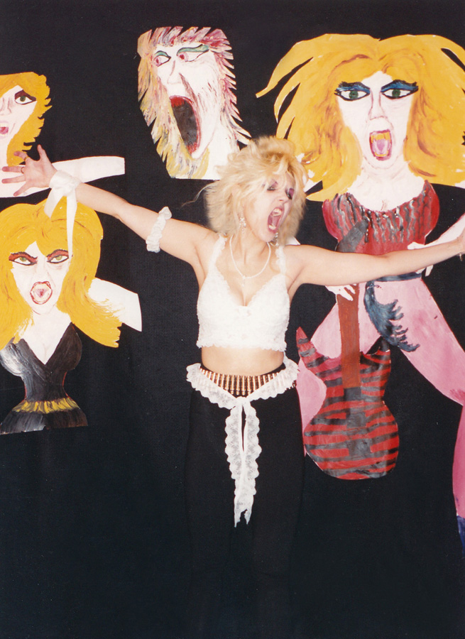 "RARE METAL HISTORY!!! PHOTO of THE GREAT KAT with her Outrageous SELF PORTRAITS PAINTED by THE GREAT KAT! ODE TO VAN GOGH!  From ""DIGITAL BEETHOVEN ON CYBERSPEED"" ERA!"