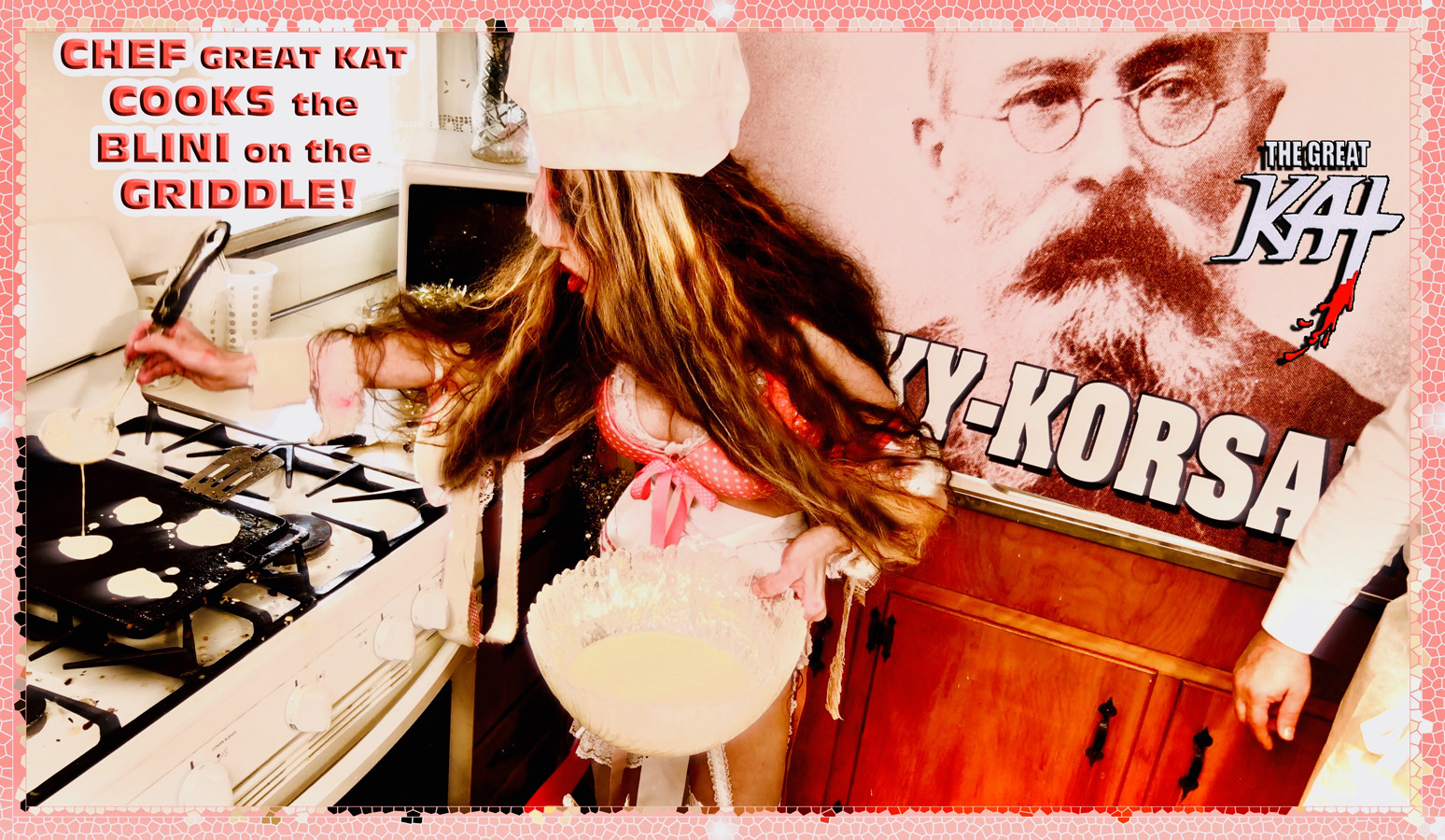 "CHEF GREAT KAT COOKS the BLINI on the GRIDDLE! From ""CHEF GREAT KAT COOKS RUSSIAN CAVIAR AND BLINI WITH RIMSKY-KORSAKOV"" VIDEO!!"