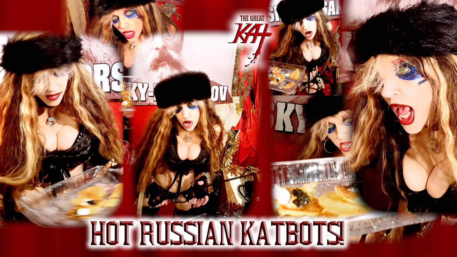 """HOT RUSSIAN KATBOTS! From """"CHEF GREAT KAT COOKS RUSSIAN CAVIAR AND BLINI WITH RIMSKY-KORSAKOV"""" VIDEO!!"""