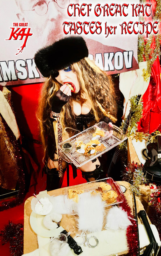 "CHEF GREAT KAT TASTES her RECIPE! From ""CHEF GREAT KAT COOKS RUSSIAN CAVIAR AND BLINI WITH RIMSKY-KORSAKOV"" VIDEO!!"