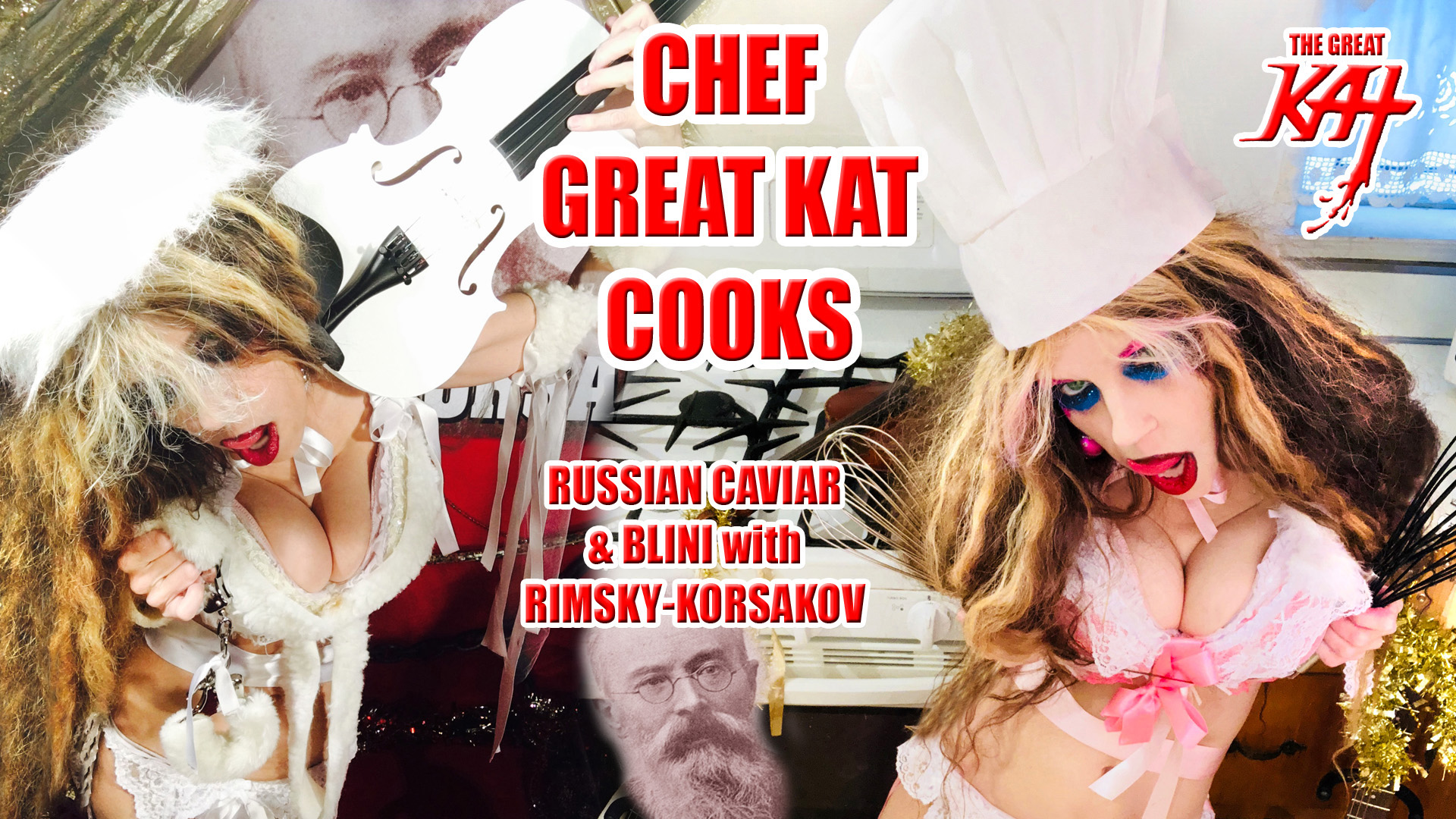 "WORLD PREMIERE of ""CHEF GREAT KAT COOKS RUSSIAN CAVIAR AND BLINI WITH RIMSKY-KORSAKOV"" VIDEO on AMAZON at https://www.amazon.com/dp/B0791NZF6J The Great Kat is the hot Russian KatBot ""android"" tempting you in Russian to taste Chef Great Kat's Russian Caviar & Blini. Great Kat, Top 10 Fastest Shredders Of All Time, cooks Russian Caviar & Blini with insane guitar/violin shredding on Rimsky-Korsakov's The Flight Of The Bumble-Bee & Sous Chefs Vladimir & Sergey. Great Kat takes you to secret Russian restaurant for tasting. Hot & decadent. WATCH at https://www.amazon.com/dp/B0791NZF6J"