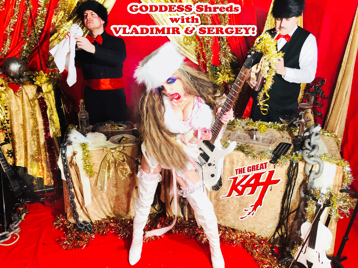"""GODDESS Shreds with VLADIMIR & SERGEY! From """"CHEF GREAT KAT COOKS RUSSIAN CAVIAR AND BLINI WITH RIMSKY-KORSAKOV"""" VIDEO!!"""