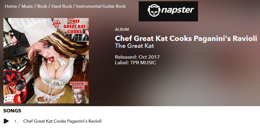 "PREMIERING on NAPSTER: THE GREAT KAT'S NEW SINGLE ""CHEF GREAT KAT COOKS PAGANINI'S RAVIOLI"":"