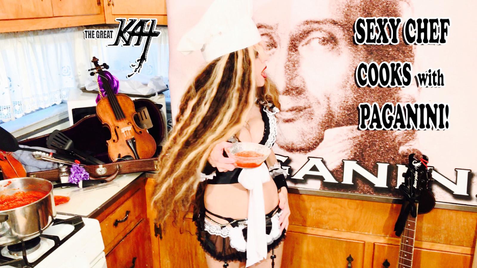 SEXY CHEF COOKS with PAGANINI! From CHEF GREAT KAT COOKS PAGANINI'S RAVIOLI!