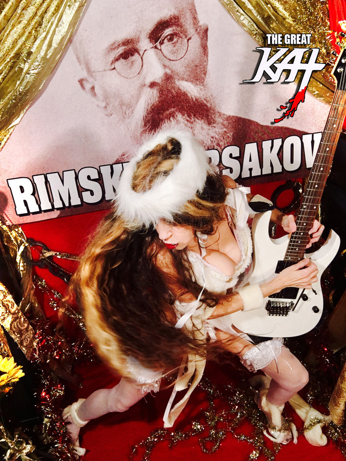 "HYPERSPEED GUITAR SHREDDING on RIMSKY-KORSAKOV'S ""THE FLIGHT OF THE BUMBLE-BEE""! From ""CHEF GREAT KAT COOKS RUSSIAN CAVIAR AND BLINI WITH RIMSKY-KORSAKOV"" VIDEO!"