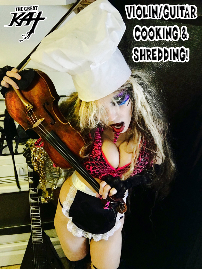 """VIOLIN/GUITAR COOKING & SHREDDING! From """"CHEF GREAT KAT COOKS RUSSIAN CAVIAR AND BLINI WITH RIMSKY-KORSAKOV"""" VIDEO!"""