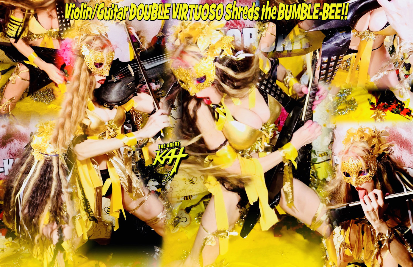 """Violin/Guitar DOUBLE VIRTUOSO Shreds the BUMBLE-BEE!! From """"CHEF GREAT KAT COOKS RUSSIAN CAVIAR AND BLINI WITH RIMSKY-KORSAKOV"""" VIDEO!!"""