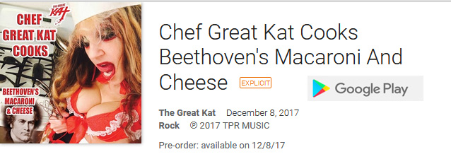 """GOOGLE PLAY PREMIERES DIGITAL AUDIO of THE GREAT KAT'S NEW """"CHEF GREAT KAT COOKS BEETHOVEN'S MACARONI AND CHEESE""""!  DOWNLOAD MP3 at https://www.amazon.com/dp/B075GVYCD7 You'll want seconds after listening to the hilarious new """"Chef Great Kat Cooks Beethoven's Mac & Cheese""""! Chef Great Kat cooks Beethoven's favorite Mac & Cheese recipe with throwing bowls, talking to Beethoven and a side of shredding the 5th on guitar! Foodies get ready for culinary craziness! https://www.amazon.com/dp/B075GVYCD7"""