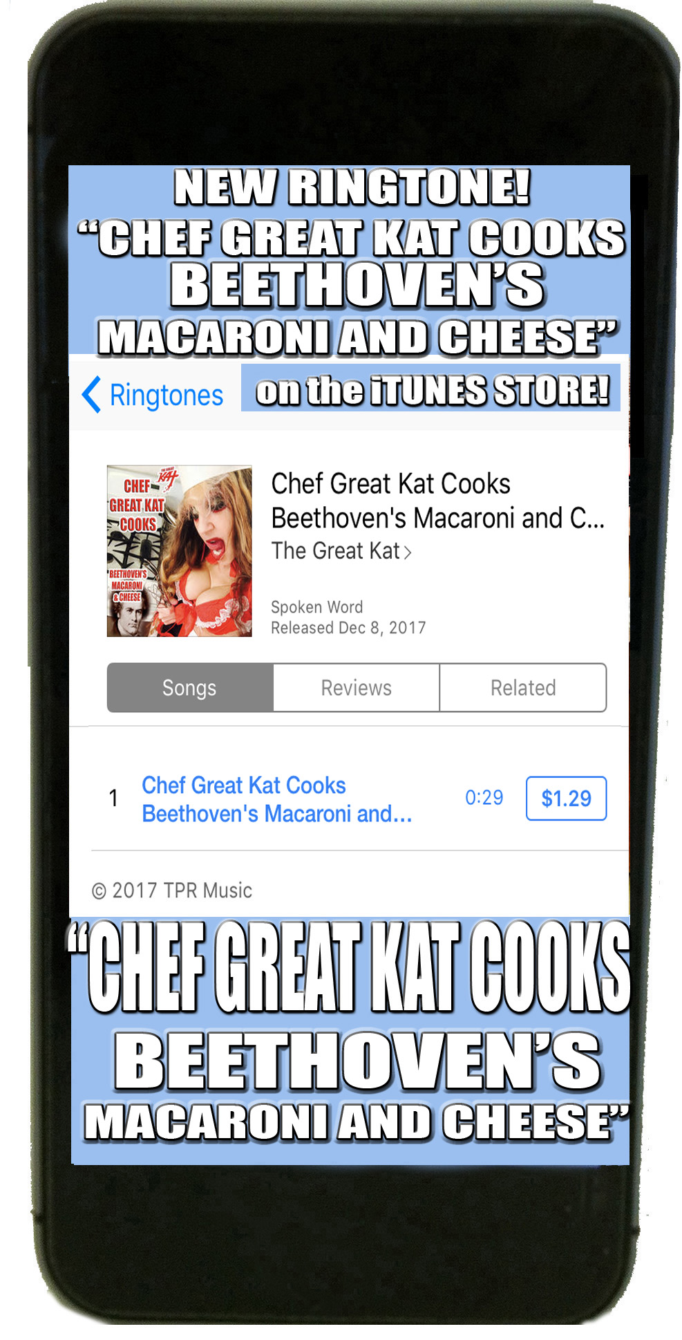 "DIGITAL AUDIO DOWNLOAD & RINGTONE COMING SOON to iTUNES MUSIC, SPOTIFY, AMAZON & MORE: THE GREAT KAT'S NEW ""CHEF GREAT KAT COOKS BEETHOVEN'S MACARONI AND CHEESE""!"