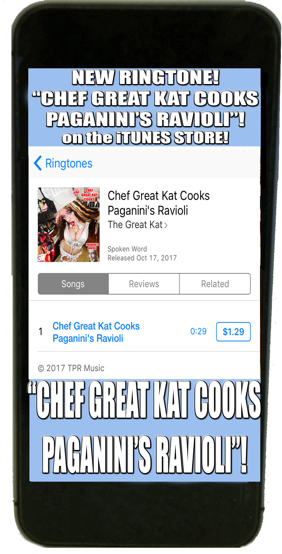 NEW RINGTONE for your iPHONE! CHEF GREAT KAT COOKS PAGANINI'S RAVIOLI!