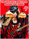 CHEF GREAT KAT'S DOUBLE-FISTED SHREDDED PORK BURGER!