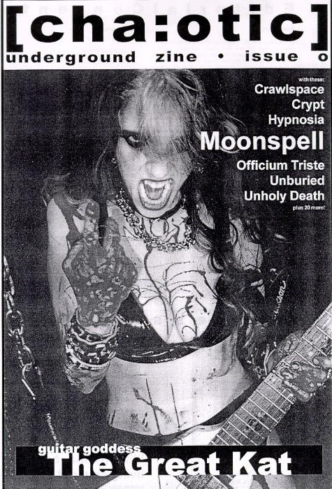 """The Great Kat on the Cover of """"CHA:OTIC UNDERGROUND ZINE""""!"""