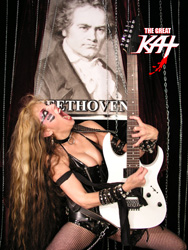 "NME NAMES THE GREAT KAT ""TOP 8 FEMALE ELECTRIC GUITARISTS OF ALL TIME""! ""The Great Kat: When the Juilliard trained Kat straps on the six-strings, everything around is sucked up in a swirling vortex of hypersonic virtuosity."" - NME"