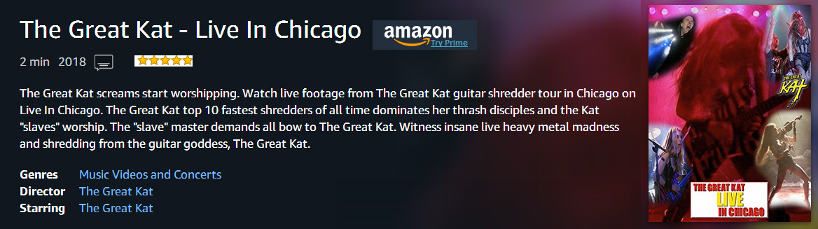 """LIVE IN CHICAGO"" - THE GREAT KAT GUITAR/VIOLIN GODDESS SHREDS LIVE in CHICAGO on TOUR! MUSIC VIDEO PREMIERES on AMAZON PRIME!"