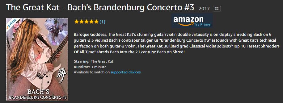 The Great KAT'S BACH'S BRANDENBURG CONCERTO #3