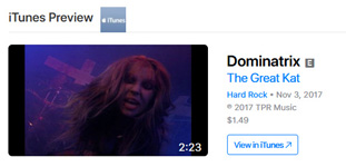 "NEW! iTUNES VIDEOS & APPLE MUSIC PREMIERE THE GREAT KAT'S ""DOMINATRIX"" Music Video! WATCH at https://itunes.apple.com/us/music-video/dominatrix/1314637581  The Great Kat guitar dominatrix SHOCKS YOU as she DOMINATES, WHIPS, and ABUSES her WILLING VICTIMS, all while The Great Kat SHREDS her INSANE GUITAR! See why Guitar One magazine names The Great Kat ""Top 10 Fastest Shredders Of All Time - the world's first shredding dominatrix."" Now, KNEEL before your DOMINATRIX!"