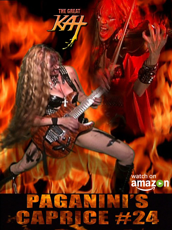 """NEW! PAGANINI'S """"CAPRICE #24"""" Music Video by THE GREAT KAT PREMIERES ON AMAZON! Paganini & The Great Kat are History's ONLY Guitar/Violin Double Virtuosos!!WATCH at https://www.amazon.com/dp/B075KLJ3NR  Niccolo Paganini & The Great Kat are history's only double violin/guitar virtuosos performing both guitar and violin with inhuman feats of virtuosity! The Great Kat is the Juilliard grad violin virtuoso & Violin Soloist at the famed Carnegie Recital Hall/World's Fastest Guitar/Violin Virtuoso shredding Paganini's Caprice #24 with high speed pyrotechnics on both guitar and violin.  https://www.amazon.com/dp/B075KLJ3NR"""