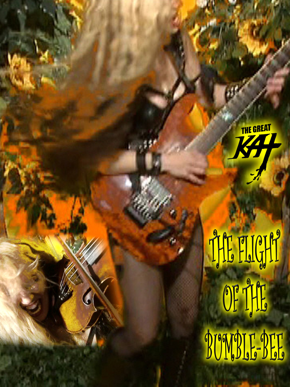 "AMAZON PREMIERES ""THE FLIGHT OF THE BUMBLE-BEE"" Great Kat Music Video! WATCH at https://www.amazon.com/dp/B075FGMK5C The Great Kat ""Top 10 Fastest Shredders Of All Time"" (Guitar One Mag)/Juilliard grad Violin Goddess shreds her signature virtuoso showpiece ""The Flight Of The Bumble-Bee"" with finger-blistering virtuosity on both guitar and violin. Guitar Player Mag declares ""Kat may be one of the fastest guitarists of all time."" The Great Kat is the only guitar/violin double virtuoso since Paganini!"