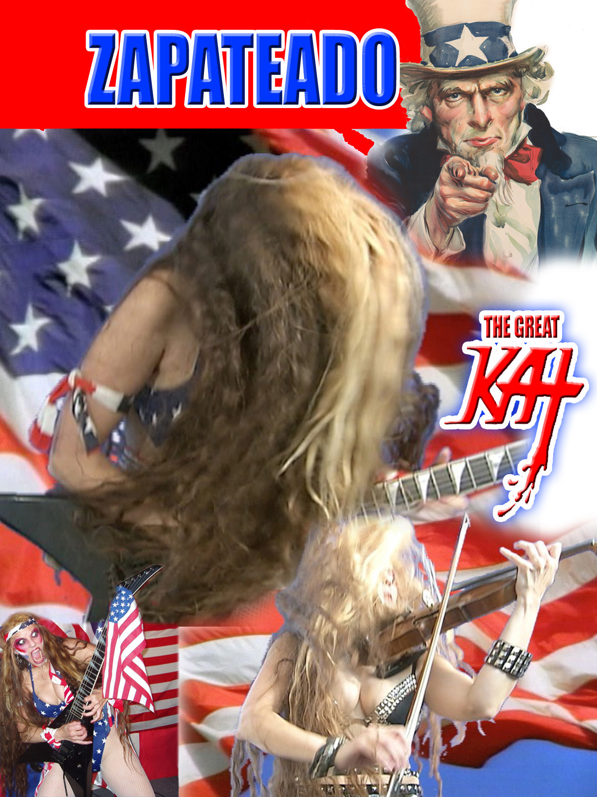 """UNCLE SAM SHREDS ON AMAZON PRIME! The Great Kat SHREDS GUITAR & VIOLIN with UNCLE SAM on """"ZAPATEADO"""" MUSIC VIDEO PREMIERING on AMAZON PRIME! WATCH at: https://www.amazon.com/dp/B079MGLFZJ  Sarasate's Spanish dance Zapateado features The Great Kat's phenomenal Classical Juilliard violin virtuosity & guitar shredding. The world famous Uncle Sam poster. U.S. flags and Americana abound, as well as a commercial break with Uncle Sam sponsoring The Great Kat's shredfest. George Washington, Declaration of Independence, Statue of Liberty & Great Kat's All-Male Hunk Band appear. Wild!!"""