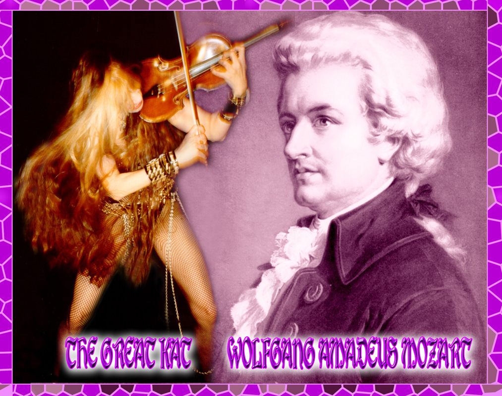 THE GREAT KAT! WOLFGANG AMADEUS MOZART! The Great Kat (Katherine Thomas) is the recipient of a German violin made in 1850 from THE FRIENDS OF MOZART SOCIETY.