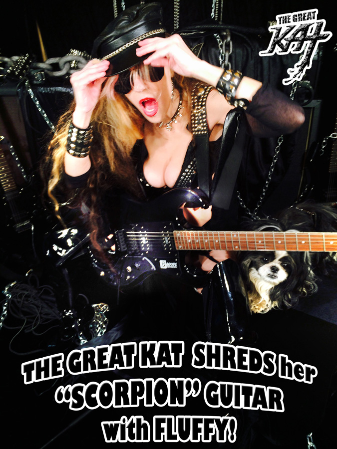 """THE GREAT KAT SHREDS her """"SCORPION"""" GUITAR with FLUFFY!"""