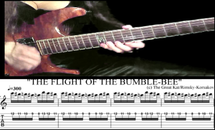 """THE GREAT KAT GUITAR SHREDDING/TABLATURE/MUSIC NOTATION PHOTOS from """"THE FLIGHT OF THE BUMBLE-BEE""""!"""